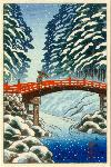Sacred Bridge, Nikko (snow scene)